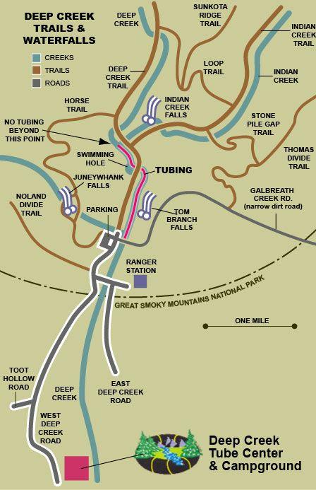 deep creek tube and campground bryson city nc | Deep Creek Trails map