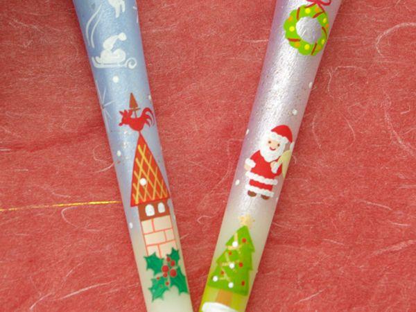 【楽天市場】【クリスマス】特別柄 サンタの贈り物 3号絵ろうそく 2本入 (手描き) 絵ローソク 和ろうそく 仏具:和ろうそく Kobe