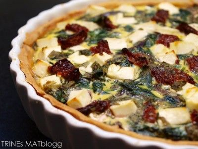 Spinach pie with sundried tomatoes and feta cheese