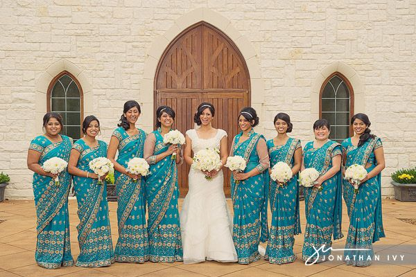 Bride and Bridesmaids wearing beautiful Saris #indian #wedding