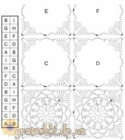 Схема вязания квадрата http://ynatashki.dp.ua/вязаный-шарф-из-квадратиков-с-цветочками