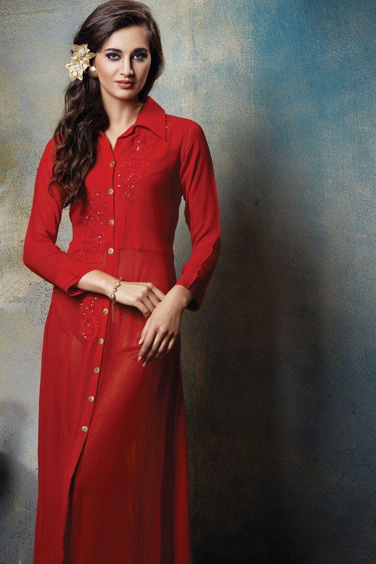 #Red georgette #discerning #kurti with full #sleeves & #shirt collar -SL3842 - #Tunics & #Kurtis