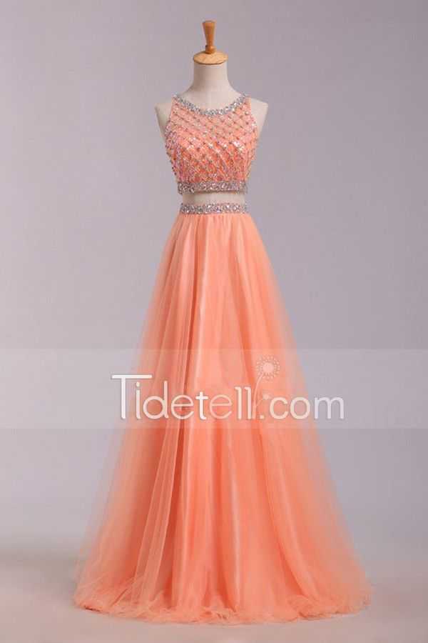 Hot Sale A-line 2 Pieces Tulle Long Prom Dress With Beading