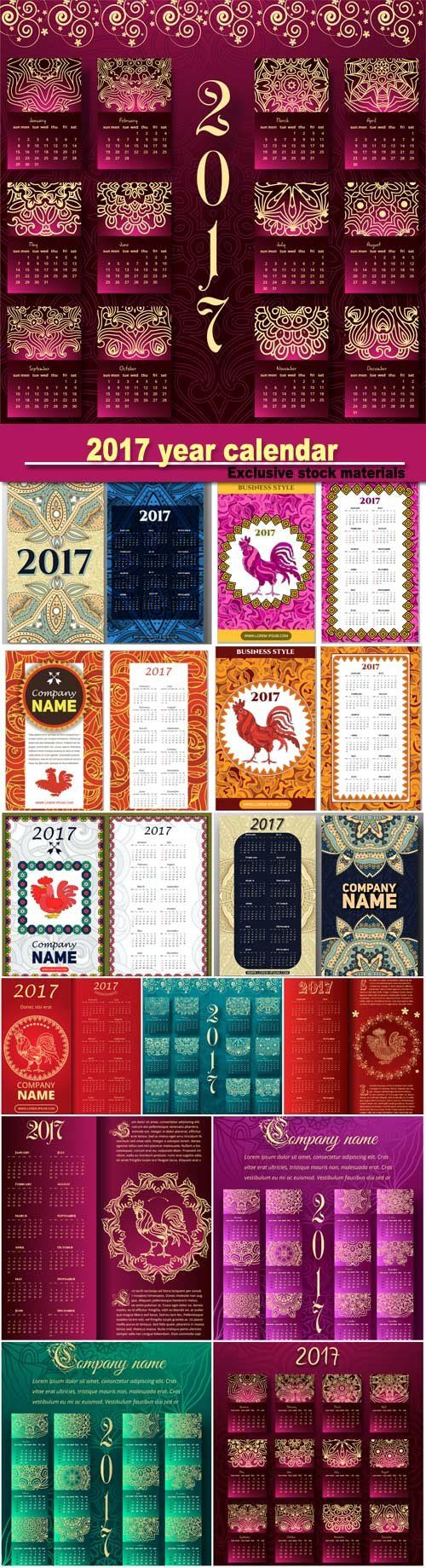 Luxury colorful 2017 year calendar template