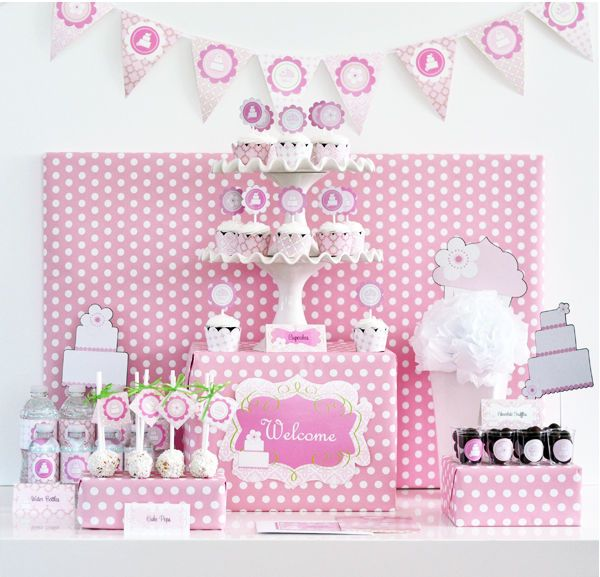 Pink Cake Theme Baby Shower Birthday Sweet 16 Mod Party Decorations Kit #polkadot #pink