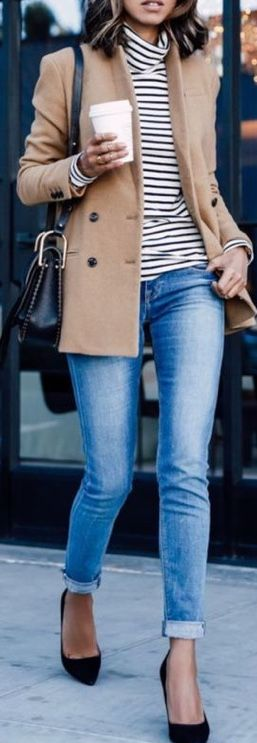 Camel coat and striped shirt
