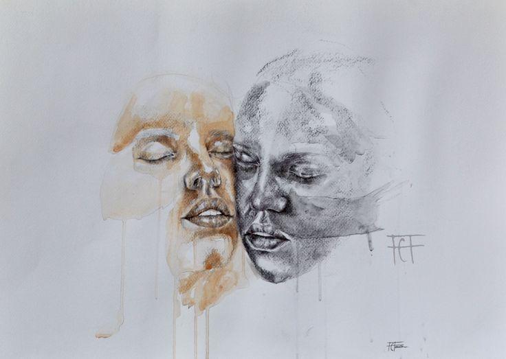 L'altro da me  mixed media on paper.  watercolor,pen,charcoal.  flaviafanara.tumblr.com