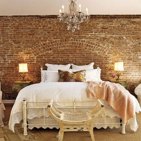 Wow this is a little too much for my taste especially in for Brick accent wall bedroom