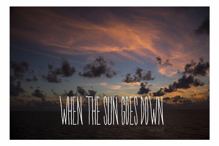 """""""when the sun goes down"""" #sun #down #ocean #orange #blue"""