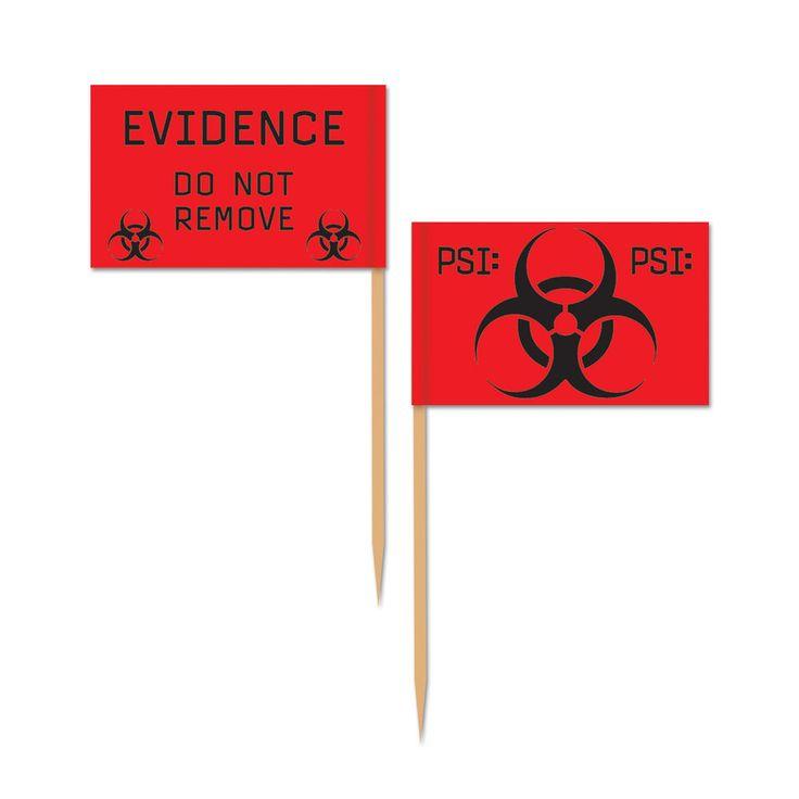 "50 ct 2.5"" Cupcake Flag Picks PSI CSI Police Evidence Birthday Party Decorations #Beistle"