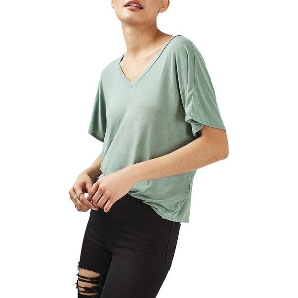 Women's Topshop V-Neck Batwing Tee ($28) ❤ liked on Polyvore featuring tops, t-shirts, mint, v neck tee, v-neck tee, batwing sleeve tops, off the shoulder tee and off the shoulder t shirt