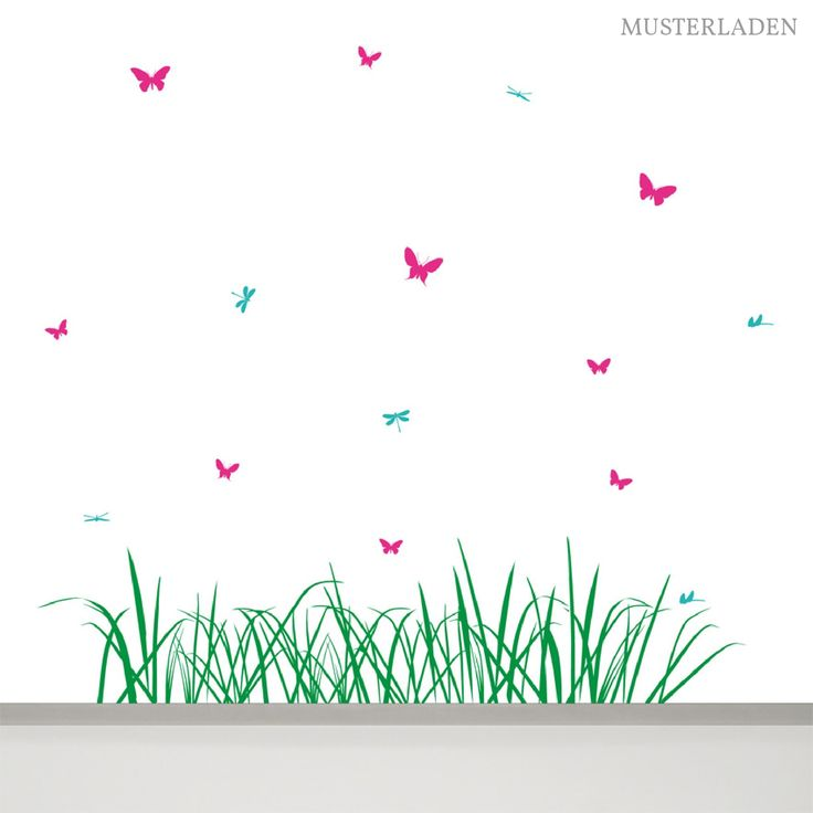 Fancy Wandtattoo Wiese mit Schmetterlingen und Libellen