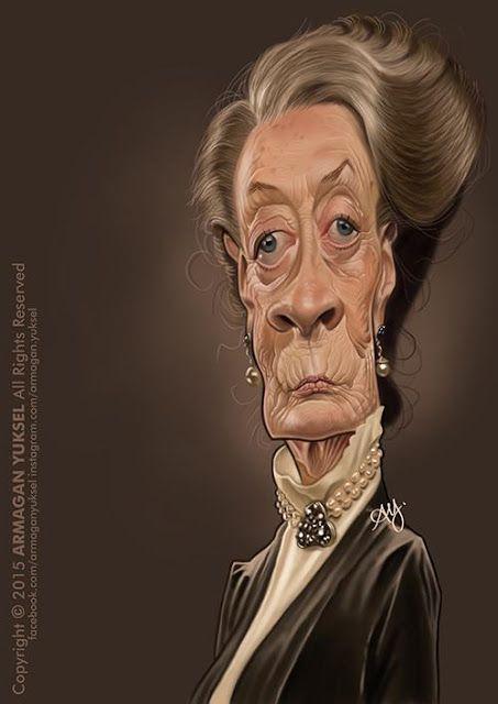 Caricatura de la actriz Maggie Smith, realizada por el artista Armagan Yuksel.     Caricatura de Ma...
