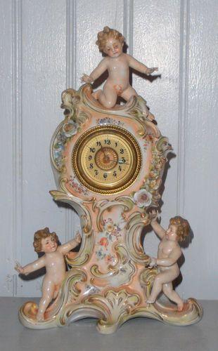 Antique Porcelain Meissen Mantle Clock Putti Cherub Angelot Flowers