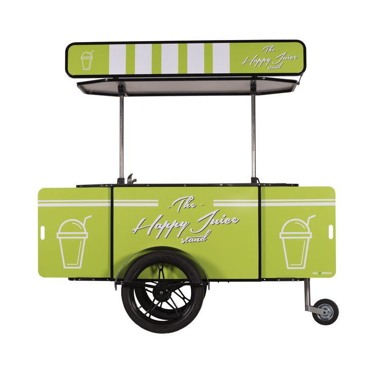 Our Juice Cart is a mobile shop that can be hauled in two ways: attached behind a bicycle or manually, as a push cart. The cart is designed for selling fresh fruit and vegetable juices prepared on the spot, using a manual juice press.    Suitable for both outdoor and indoor locations .    Optionally, the Juice Cart can be fitted with an electric blender or with an electric Juicer (similar to Slow Juicer).    #JuiceBike #JuiceCart #VendingCart
