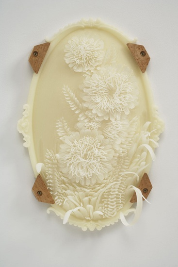 """Jolynn Krystosek also makes amazing sculptures carved painstakingly in wax, like this one, """"Untitled."""""""