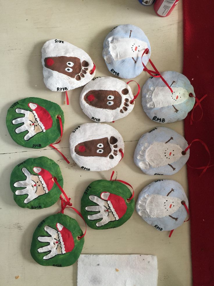 Made these using Salt Dough! (1 cup salt, 2 cups flour, & 1 cup of water. Bake at 250 for 2 hours, let cool overnight) 11 gifts made with things around the house! Merry Christmas! (Also, my 3 month old really enjoyed digging her hands and toes into the dough ❤️)