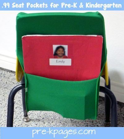 Easy DIY (no-sew) 99 cent seat pockets for #preschool and #kindergarten via www.pre-kpages.com