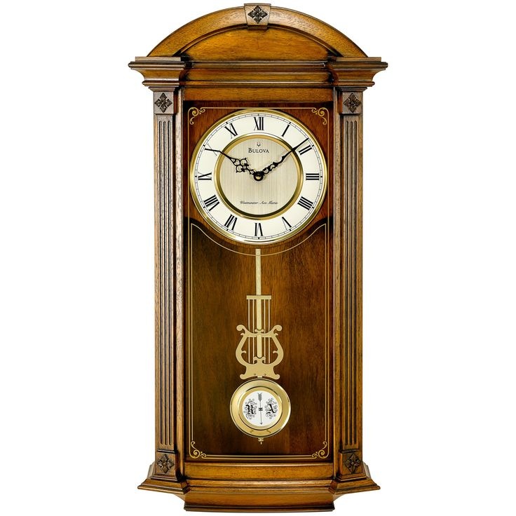 Bulova Hartwick Solid Wood Wall Clock - 14W x 30H in. - C4331