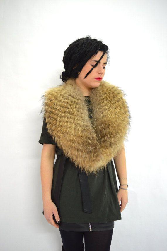 Real fur collar tanuki fox collar tan brown fur collar. by BeFur