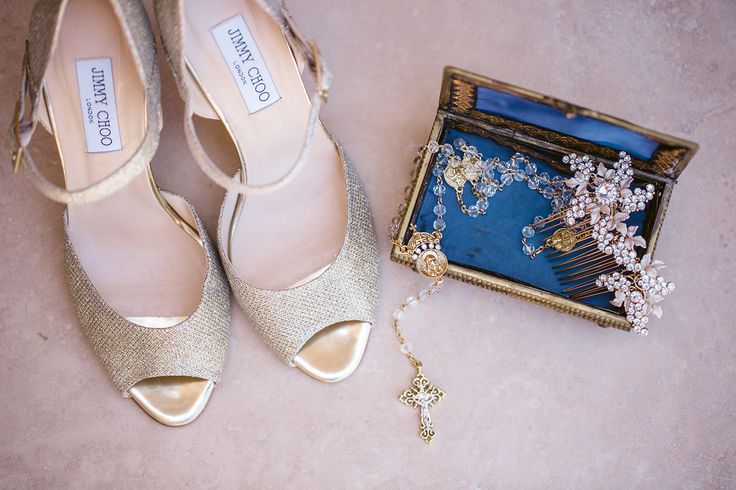 Jimmy Choo gold heels, wedding shoes, wedding accessories, Erine and Steve The Resort atPelican Hill wedding, California wedding, Images by Jasmine Star http://loveluxelife.com/love-erin-steve-the-resort-at-pelican-hill/