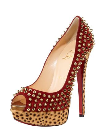 Lady Peep Spike Pump by Christian Louboutin at Bergdorf Goodman. Falll '12: Death Spikes, Christians, Protection Pumps, Peeps Spikes, Leopards Pumps, Spikes Pumps, Lady Peeps, Christian Louboutin, Leopard Pumps
