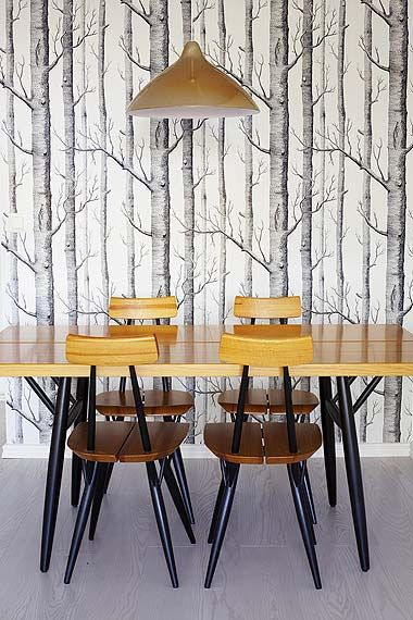 A home in Finland. These are Pirkka dining chairs, 1955 by Ilmari Tapiovaara for Asko in Finland