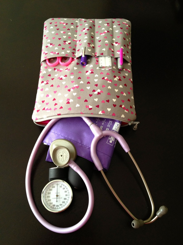 stethoscope & BP case- in valentine's day - gray, red, pink hearts (medical pouch, pockets for penlight and tools).