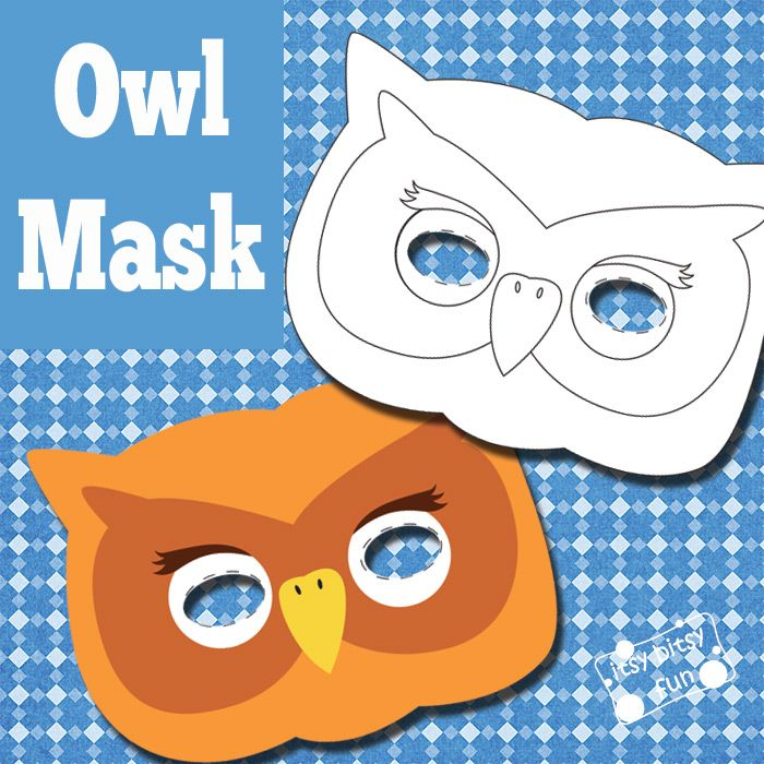 Owl Mask And Template To Color