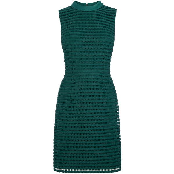 OASIS Stripe Mesh High Neck Dress ($98) ❤ liked on Polyvore featuring dresses, green, night out dresses, party dresses, shift dress, christmas party dresses and green christmas dress
