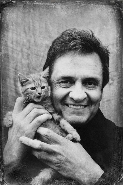 Johnny Cash (1932-2003) - American actor and film producer. the Man in Black + kitten friend - by Brett Jordan