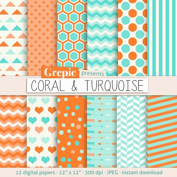 "Coral turquoise digital paper: ""CORAL & TURQUOISE"" with chevron, stripes, polkadots, honeycomb, hearts arrows, triangles in orange blue teal"
