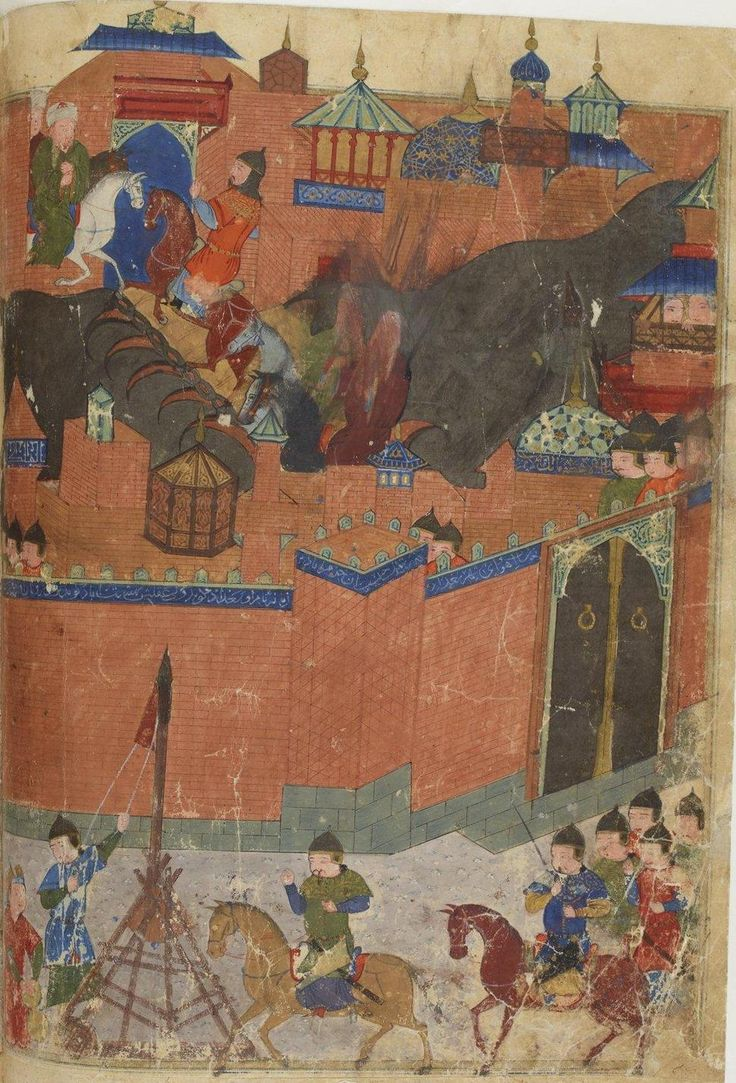 The painting illustrates the siege of Baghdad by the Mongolian armies of Hulagu Khan in 1258. Caliph Al-Musta'sim crosses the bridge on the Tigris, ready to meet Hulagu Khan (grandson of Genghis Khan). On the top of the walls of the city a Persan poem written by Sayf Al-Vahedi celebrates the charm of Baghdad.  The figures are dressed as Timurids of the 15th Century