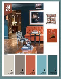 Teal & Orange Living Room...these colors are definitely in my house...the style in this image is nowhere in my house...so not me. :)