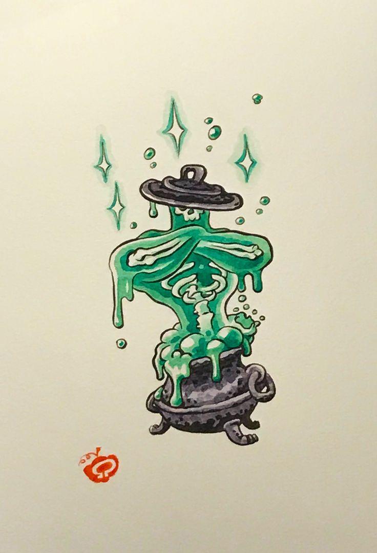 JUICY #inktober #Inktober2017 #day23 #juicy #geniusinside #homunculus #cauldron #halloween #tattoodesign
