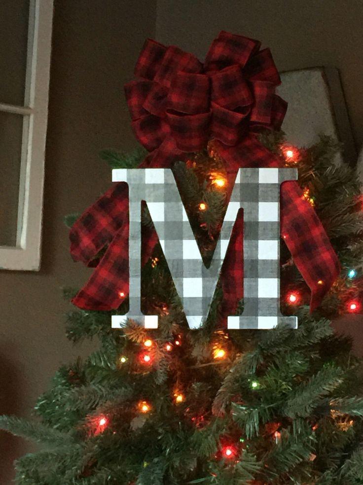 white and Black Buffalo Check Plaid Christmas Tree Topper
