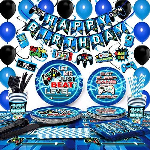 Tmcce Blue Video Game Party Supplies Gaming Party Decoration For Boys Paper P In 2021 Video Games Birthday Party Boys Birthday Party Decorations Happy Birthday Banners