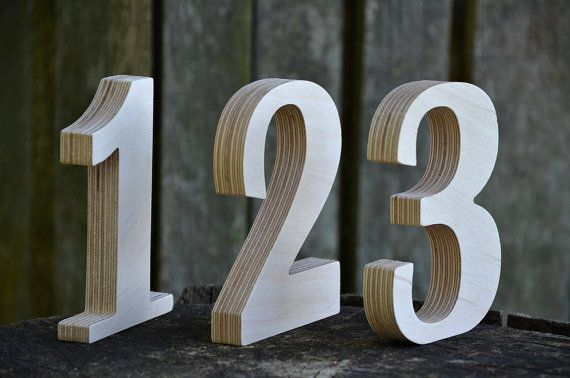 A set of 1 to 12 wooden numbers. These free standing wooden numbers are perfect for wedding table numbers, nursery, home decors and rustic wedding. The stand alone numbers are made of birch plywood and are perfect for coloring, painting and for DIY activities as well as for photo props, arts projects and kids crafts activities. More: www.etsy.com/shop/KlikKlakBlocks