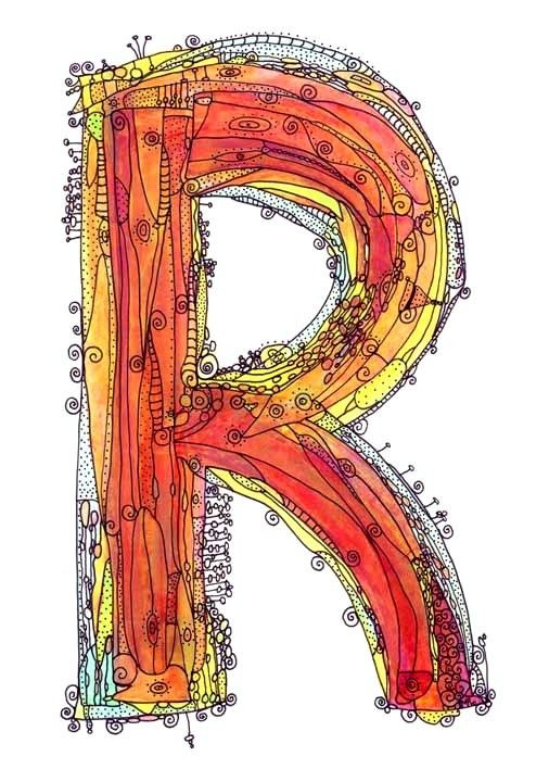 Whimsical letter R funky Art Print  paint and ink by ingridsart