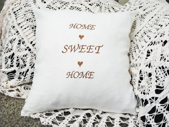 Home Sweet Home white embroidered linen pillow by leonorafi
