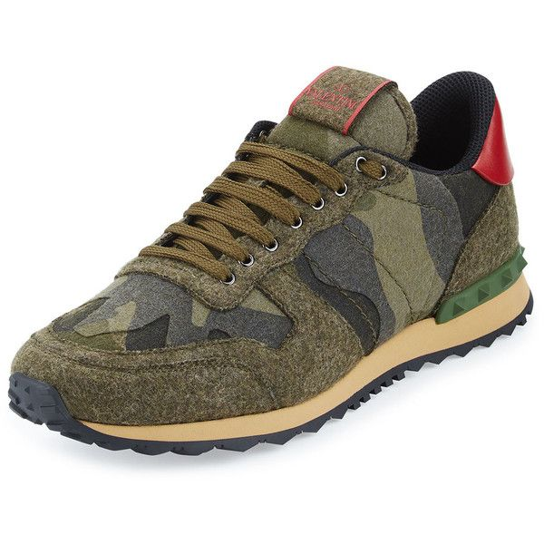 Valentino Rockrunner Felt Camo Trainer Sneaker ($1,890) ❤ liked on Polyvore featuring men's fashion, men's shoes, men's sneakers, men's shoes sneakers, olive, mens lace up shoes, mens flat shoes, mens camo shoes, mens sneakers and mens flats