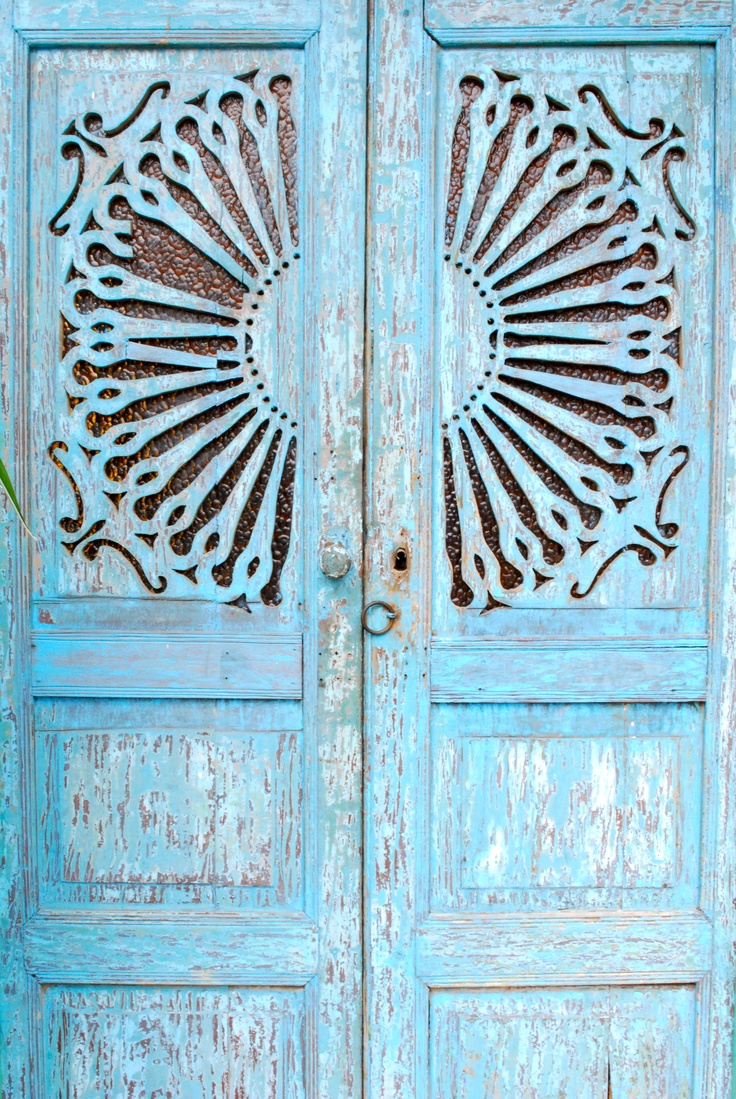Typical wooden carved door from traditional architecture in Armenia, Colombia
