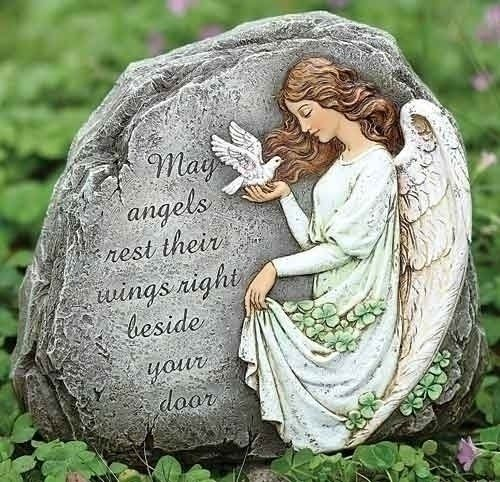 "Joseph Studio 62407 Tall Celtic Angel Garden Stone with Inscribed Verse May Angels Rest Their Wings Right Beside Your Door, 8.25-Inch by Joseph Studio. $27.00. Home and Garden Accent. Resin Stone Mix. Indoor or Outdoor. 8.25-Inch tall Celtic Angel Garden Stone with inscribed verse "" May angels rest their wings at your door""."