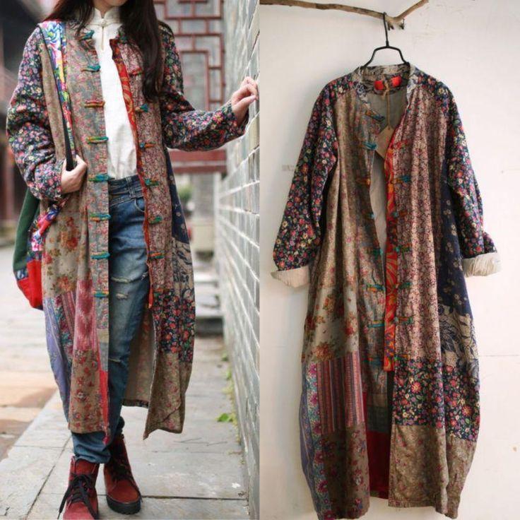 100% Cotton Linen Folk Art Women Maxi Long Button Floral Loose Qipao Dress Coat #Unbranded #BasicJacket