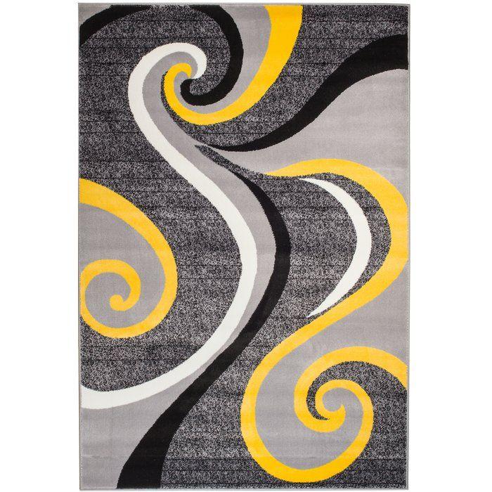 Zipcode Design Rick Abstract Gray Yellow Area Rug Yellow Area Rugs Grey And Yellow Living Room Yellow Grey Rug