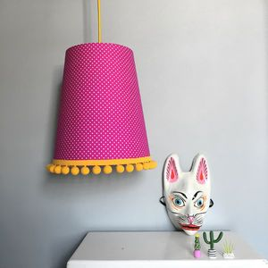 Tapered Lampshade In Pin Dots With Pom Pom Trim