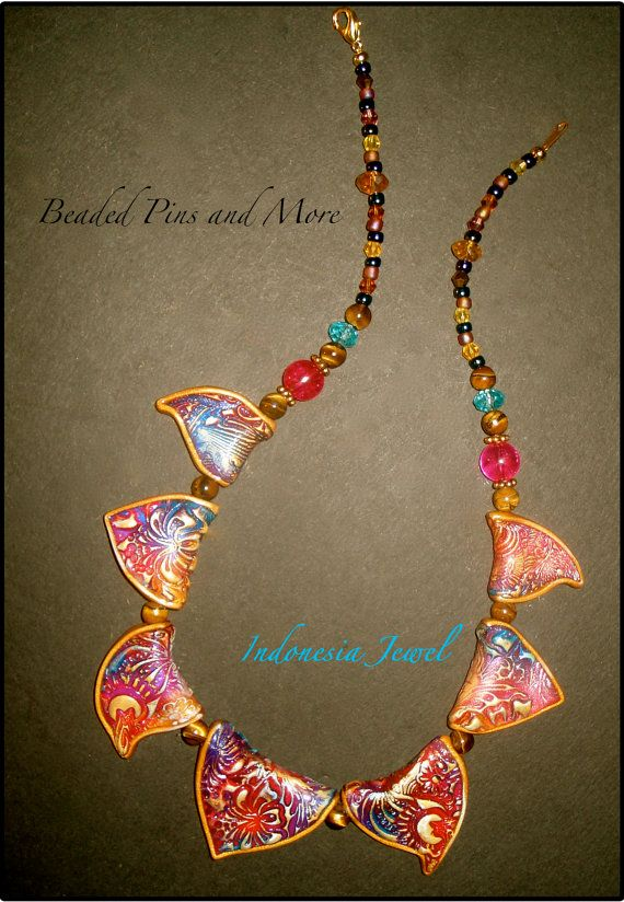 Indonesia Jewel Polymer Necklace by BeadedPins on Etsy, $29.00