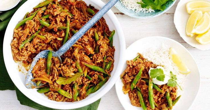 Take minced beef to a new level with this flavoursome tomato and green bean beef keema served with rice, yoghurt and fresh coriander.