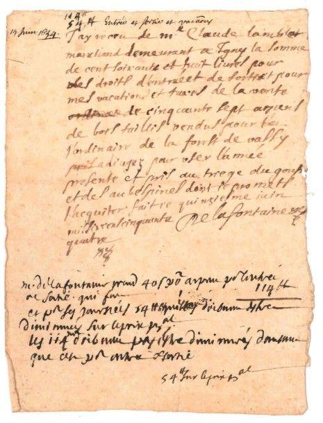 Jean de LA FONTAINE (1621-1695) Le grand fabuliste. [AF] P.A.S., [Château-Thierry] 15 juin 1654; sur 1 page petit in-4. TRÈS RARE QUITTANCE AUTOGRAPHE EN TANT QUE MAÎTRE PARTICULIER DES EAUX ET FORÊTS… - Pierre Bergé & associés - 25/06/2015