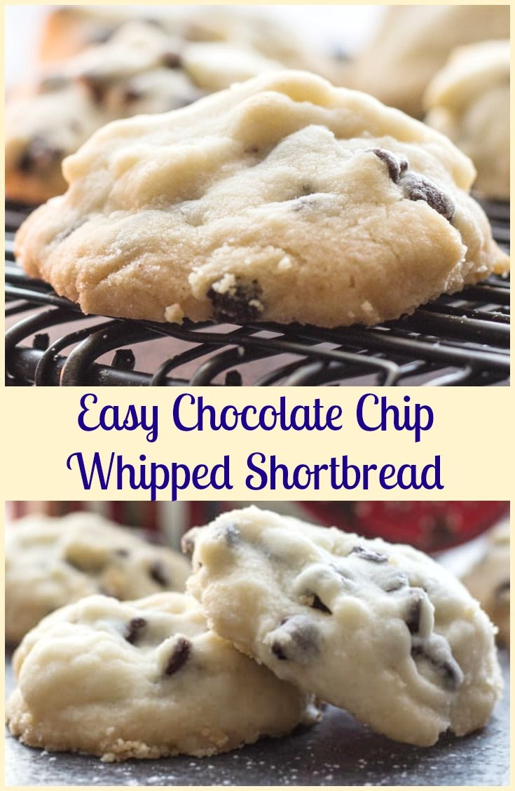 Christmas Time Melt in Your Mouth Easy Chocolate Chip Whipped Shortbread, the best made with corn starch Shortbread Holiday Cookie Recipe.